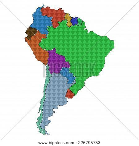 Dotted Line Political Map Of South America. Vector Illustration Design