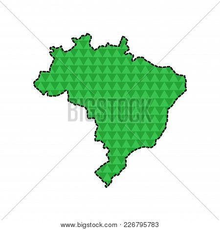 Dotted Line Map Of Brazil. Vector Illustration Designz