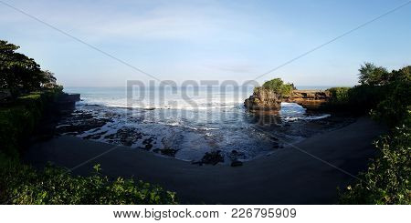 Tanah Lot & Batu Bolong Temple. Bali Indonesia. Tropical Nature Landscape Of Indonesia, Bali.