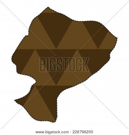 Dotted Line Map Of Ecuador. Vector Illustration Design