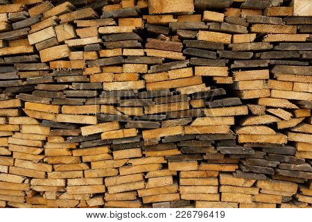 Woodpile. Thin Boards Stacked On Top Of Each Other.