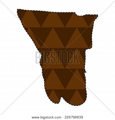 Dotted Line Map Of Namibia. Vector Illustration Design