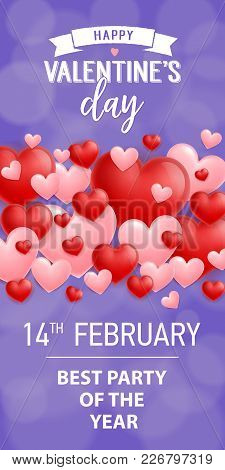 Happy Valentines Day February Fourteen Best Party Of Year. Saint Valentines Day Invitation. Handwrit