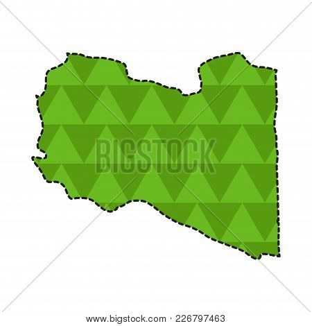 Dotted Line Map Of Libya. Vector Illustration Design