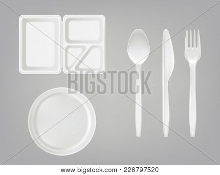 Vector 3d Realistic Disposable Plastic Lunch Box With Partition, Plate, Cutlery - Spoon, Fork, Knife