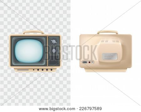 Vector Illustration Of Vintage Tv Set. Front, Back View. Television Device. Retro Electric Video Dis