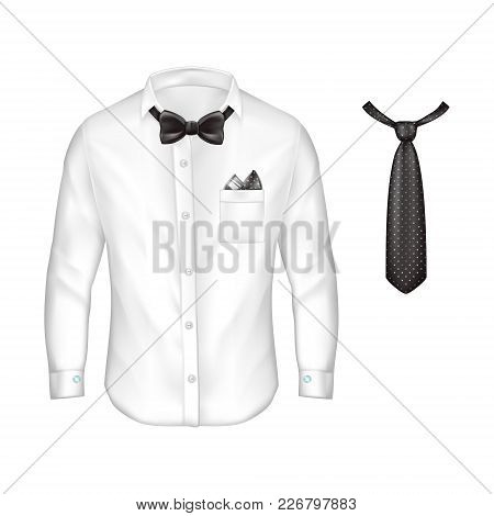 Vector 3d Realistic White Male Shirt With Long Sleeves, Buttons And Cufflinks, Bow-tie, Handkerchief