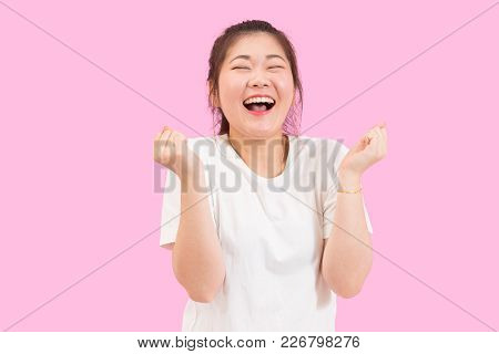 Cute Asian Woman Scream With Joy And Happiness, Suprise Feeling, Winner Expression, White Shirt, Pin