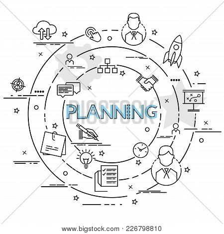 Flat Colorful Design Concept For Planning. Infographic Idea Of Making Creative Products. Template Fo