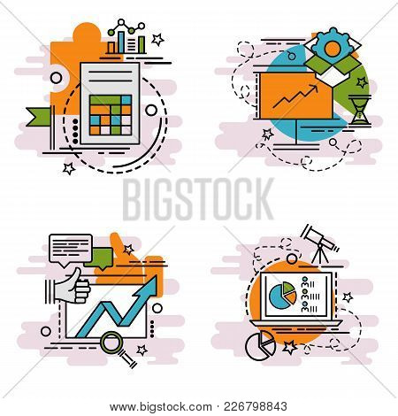 Set Of Outline Icons Of Analysis. Colorful Icons For Website, Mobile, App Design And Print.