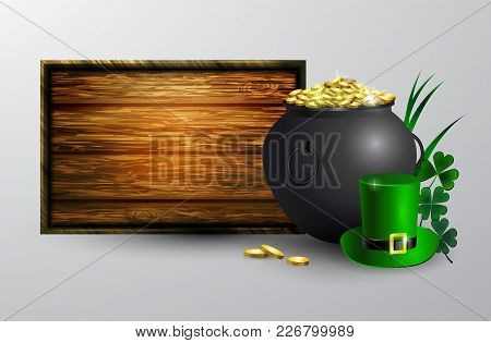 St. Patrick S Day Symbol Empty Wooden Board For Your Design Vector Illustration