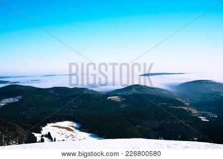Beautiful Winter Landscape In The Mountains. Cold Weather, Snow On Hills, Black Forest, Germany.