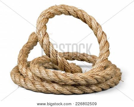 Knot Rope White Background Copy Space Isolated
