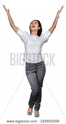 Woman Arms Outstretched White Background Happy Holiday