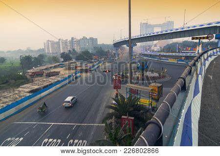 Kolkata, West Bengal , India - January 26th 2017 : Parama Island Flyover, Popularly Known As Ma Or M
