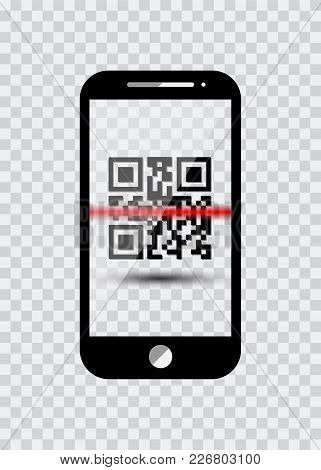 Smart Phone Icon With Sample Bar Codes For Scanning Icon With Red Laser, Vector Illustration Isolate