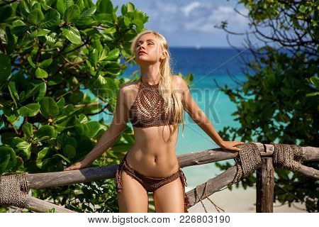 Beautiful Blonde Woman In The Brown Knitted Bikini Posing On The Lonely Beach Near Green Bushes And