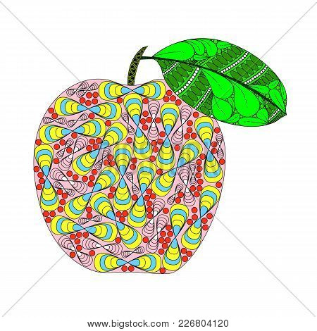 Apple With Leaf In Zenart Style, Color Illustration On White Background