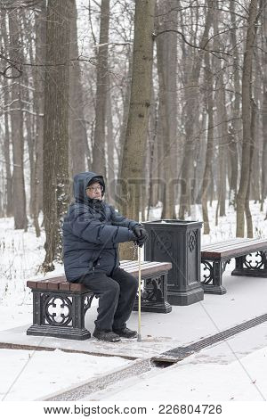 Man - Elderly Pensioner, Sits On A Park Bench In The Winter. High Trees, A Lantern. Tsaritsyno, Mosc