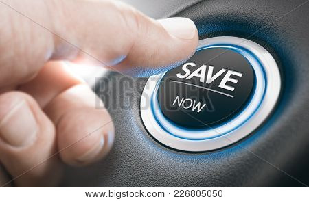Man Pushing A Start Button With The Text Save Now. Concept Of Car Offers Or Discount. Composite Imag