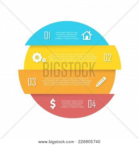 Vector Element For Round Infographic. Business Concept Can Be Used For Chart, Brochure, Diagram And