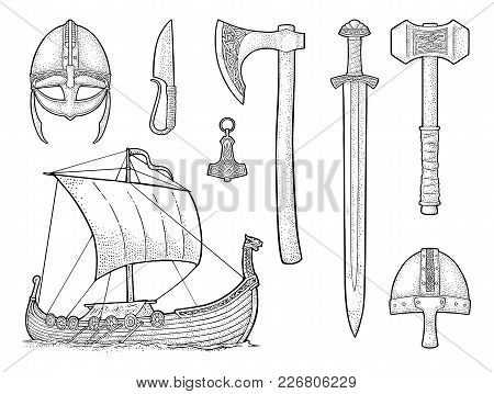 Set Viking. Knife, Drakkar, Axe, Helmet, Sword, Hammer, Thor Amulet With Runes. Vintage Vector Black