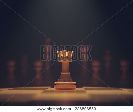 3d Illustration. The Rook In Highlight. Pieces Of Chess Game, Image With Shallow Depth Of Field.