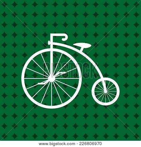 Penny-farthing Icon White Isolated On Green Background. Antique Old Bicycle With Big Wheels. Vector