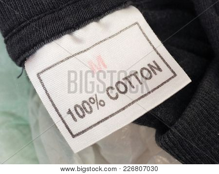 One Hundred Percent Cotton Label Tag On Clothing