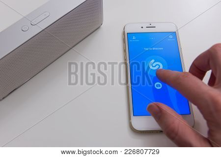 Usa, Boston - December 10: Shazam Mobile Application On Screen Of Apple Iphone 7 On December 10, 201