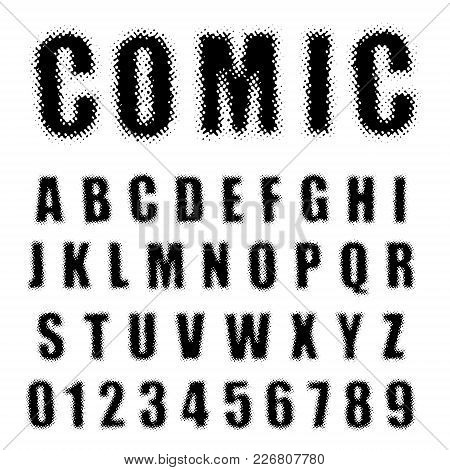 Alphabet Font Template. Set Of Letters And Numbers Comic Halftone Design. Vector Illustration.