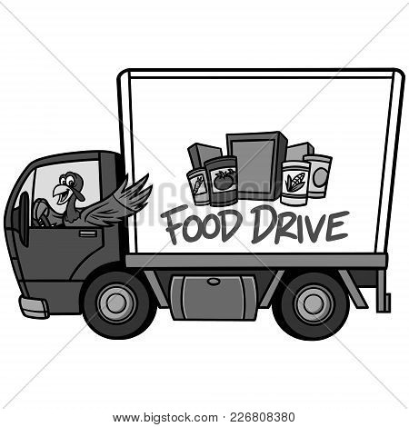 Food Drive Illustration - A Vector Cartoon Illustration Of A Food Drive Concept.