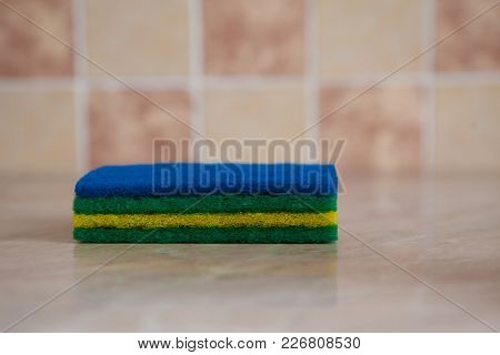 Used Cleaning Rag On Table, Rag For Cleaning On Wood Table.