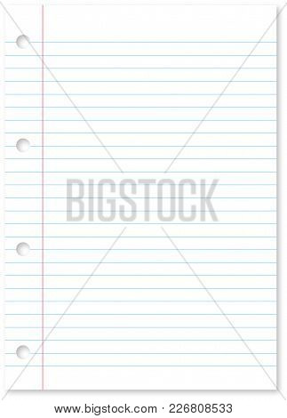 Page Of A Spiral Bound Note Pad Binder Of White Paper And Blue Lines With Holes And Copy Space - Vec