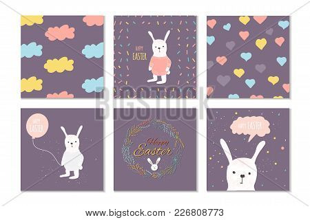 Collection Of 6 Easter Card, Banner Background, Template With Beautiful Spring Flowers, Leaves, Hear