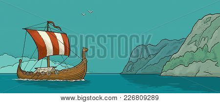 Drakkar Floating On The Fjord In Norway. Hand Drawn Design Element Sailing Ship. Vintage Color Vecto