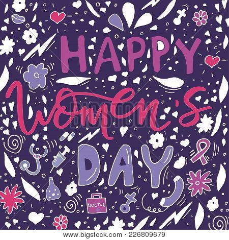 Beautiful Card Design For Happy Women's Day Celebration. Postcar