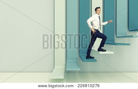 young businessman rise 3d abstract stair