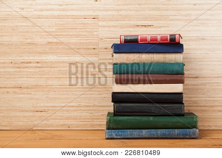 Heap Books Different Background Wooden Style Symbol