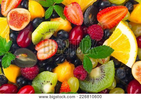 Table Vegetables Assorted Fruits Natural Food Low Fat Organic Food