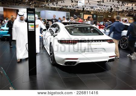 Dubai, Uae - November 17: The Porsche Panamera Turbo S E-hybrid Car Is On Dubai Motor Show 2017 On N