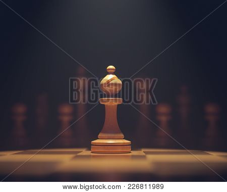 3d Illustration. The Bishop In Highlight. Pieces Of Chess Game, Image With Shallow Depth Of Field.