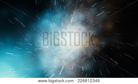 Crazy Fast Flight In Hyperspace Of Space Among Nebulae And Stars With Flares 3D Illustration