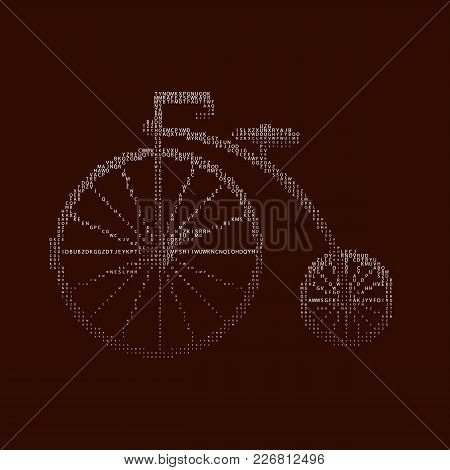 Penny-farthing Icon White Isolated On Green Background. Antique Old Bicycle With Large Wheels Penny-