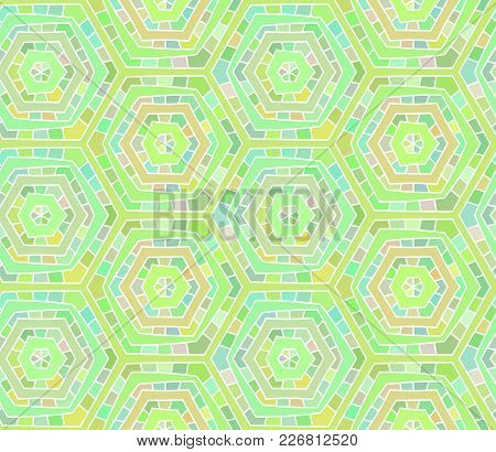 Abstract Green Shades Seamless Hand Drawn Spiderweb Pattern. Colorful Design Element For Background,