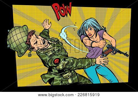 Woman Vs Man. Civil Beats Invader Military Soldier. Struggle For Peace. Protest Against The Occupier