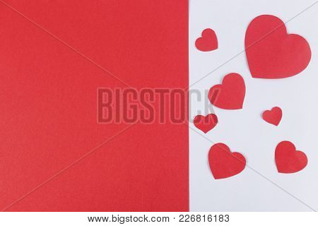 Valentines Day Background Image. Paper Hearts And Copy Space For Text.