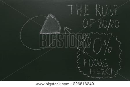 Pareto Principle Or Eighty-twenty Rule Represented On A Blackboard - White Chalk Drawing