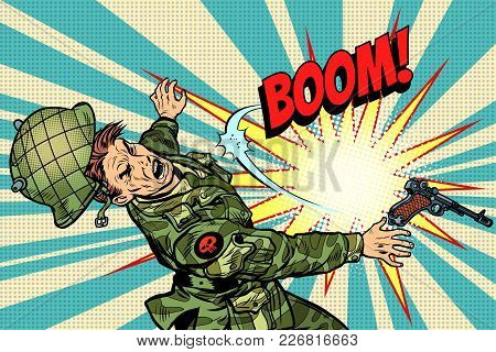 Soldier And Explosion, Death In War. Pop Art Retro Vector Illustration Comic Cartoon Vector Vintage