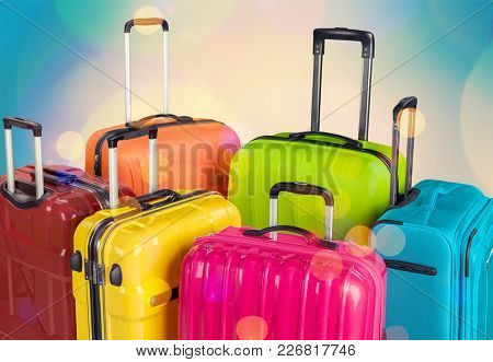 Colorful Backpack Suitcase Suitcases Red Large Objects